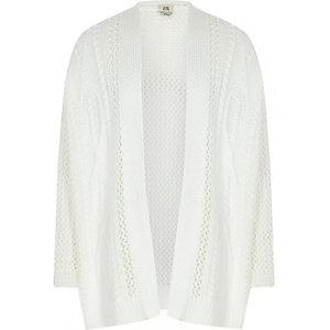 Wit vest met halen en opening aan de voorkant voor meisjes