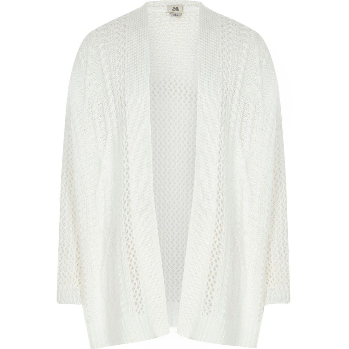Girls white ladder knit open front cardigan