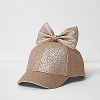 Mini girls glitter bow top baseball cap