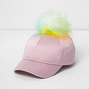 Mini - Roze satijnen baseballpet met pompon voor meisjes