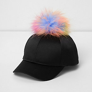 Mini girls black satin pom pom baseball cap