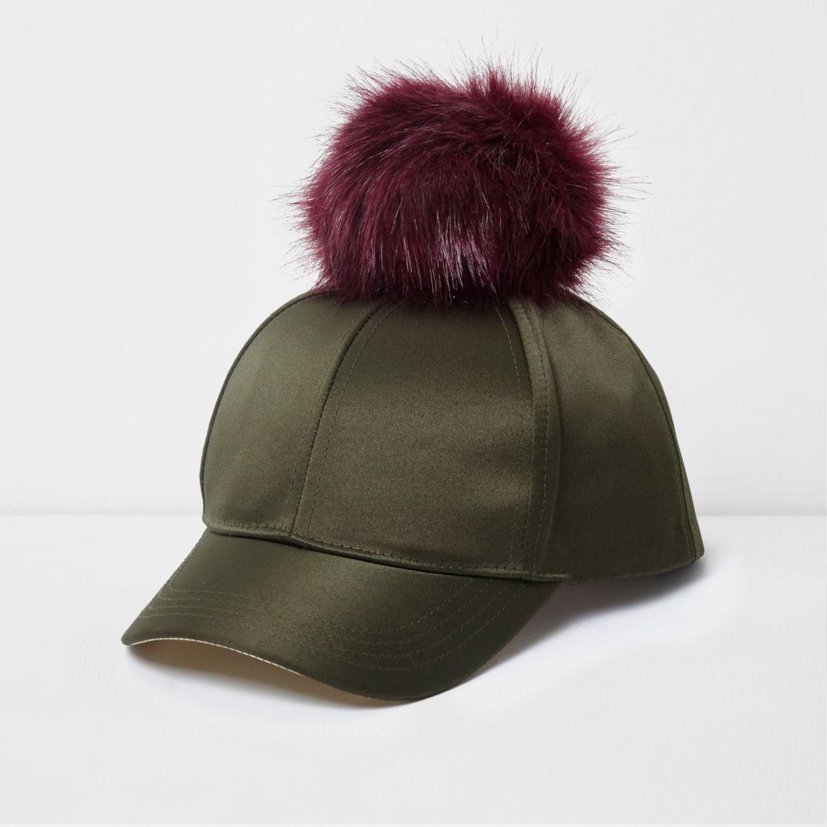 Girls khaki satin pom pom baseball cap