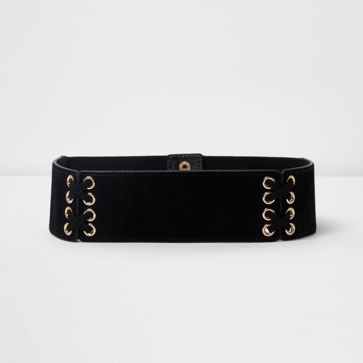Girls black eyelet lace-up waist belt