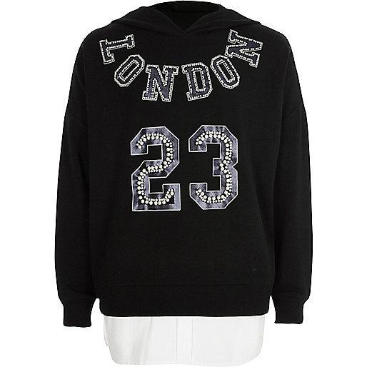 Girls black 'London' embellished hoodie