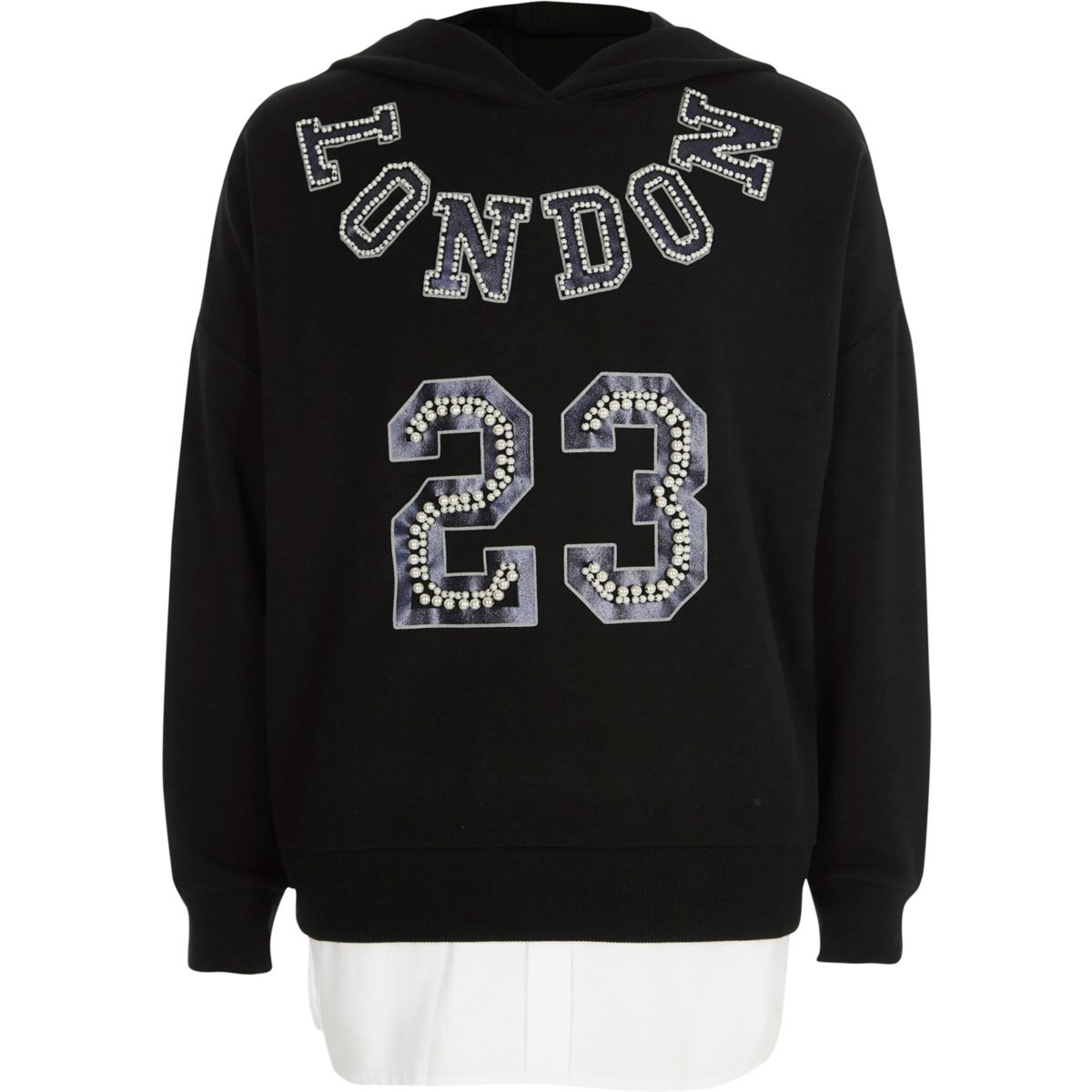 Girls black 'London' embellished hoodie