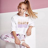 Girls RI active white 'dance' sweatshirt