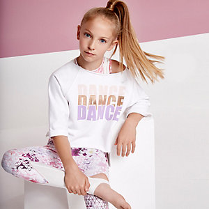 Girls RI active white 'dance' sweatshirt