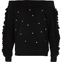 Girls black embellished bardot sweatshirt