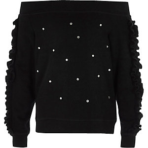 Schwarzes, verziertes Bardot-Sweatshirt