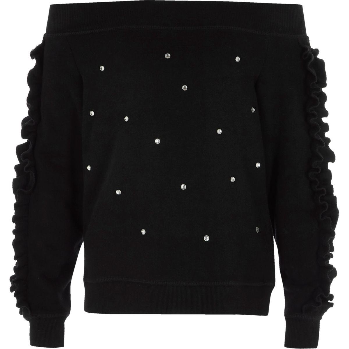 Girls black embellished bardot sweatshirt