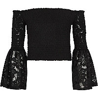 Girls black lace shirred bardot top
