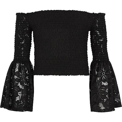 Girls black lace shirred bardot top
