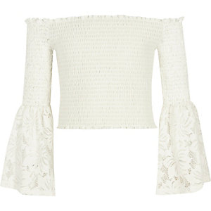 Girls white lace shirred bardot top