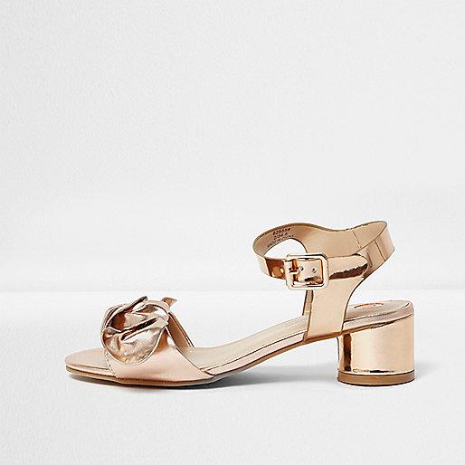 Girls gold metallic bow block heel sandals
