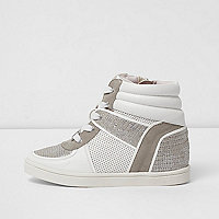 Girls white snakeskin panel high top sneakers