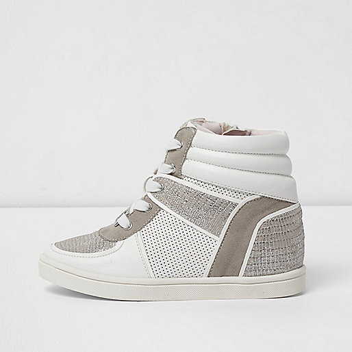 Girls white snakeskin panel high top trainers