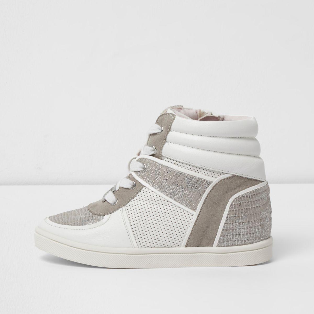 Girls white snakeskin panel high top sneakers