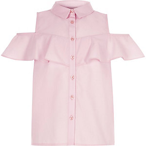 Girls pink cold shoulder frill shirt