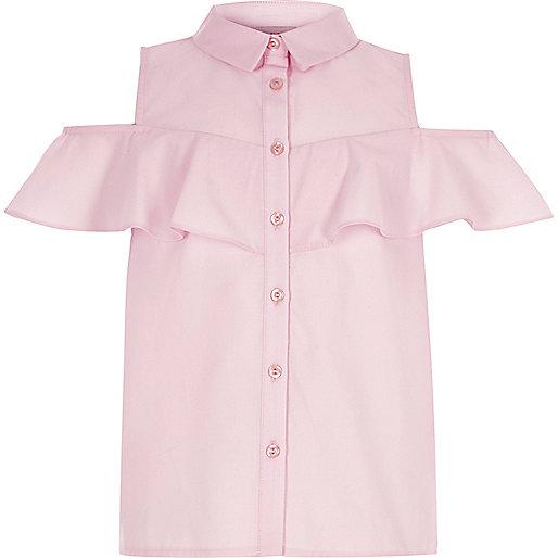 Girls pink cold shoulder frill shirt