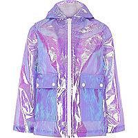 Girls light purple iridescent rain mac