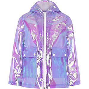 Girls light purple iridescent rain mac