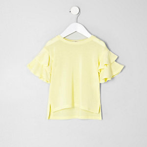 Mini girls yellow knit frill sleeve jumper