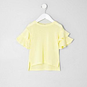 Pull en maille jaune avec manches à volants mini fille