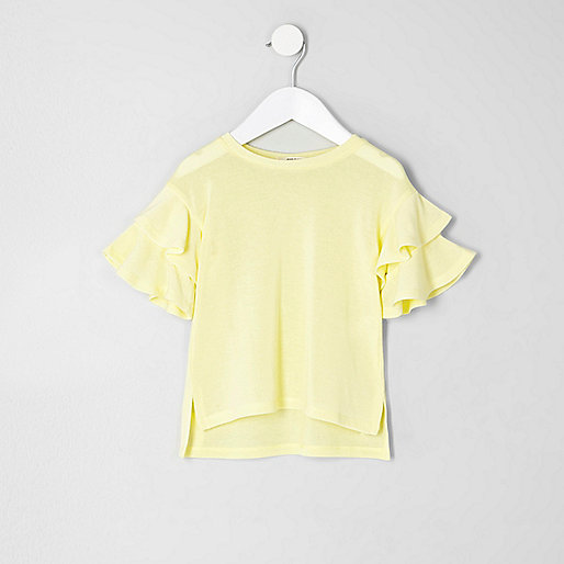 Mini girls yellow knit frill sleeve sweater