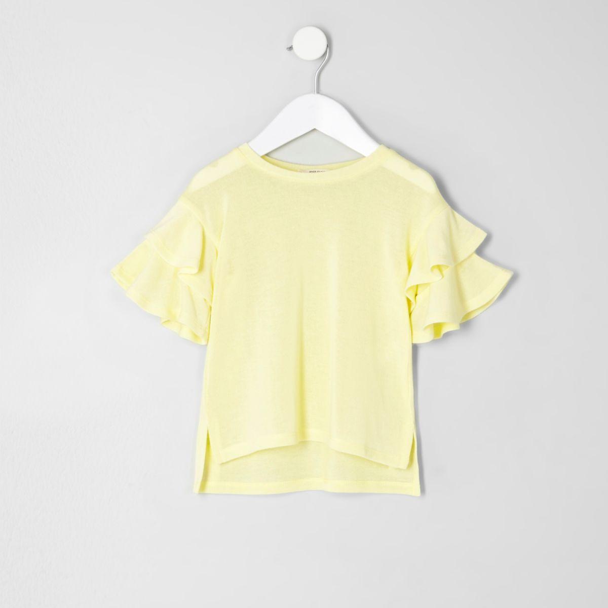 Mini girls yellow knit frill sleeve jumper