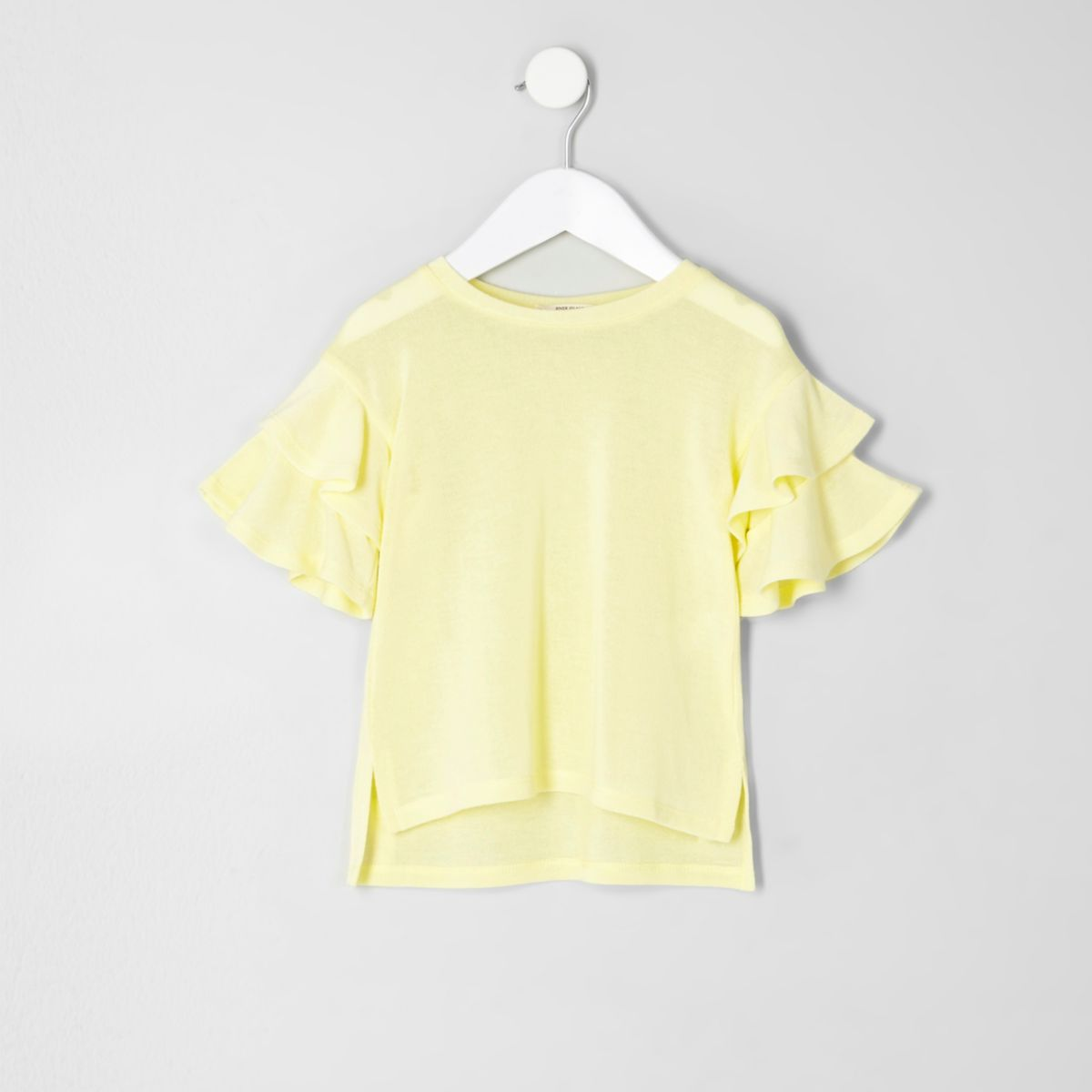 Mini girls yellow knit frill sleeve sweater - Mini Girls - Sale ...