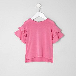 Mini girls pink short frill sleeve sweater