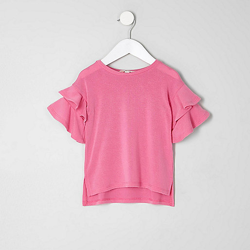 Mini girls pink short frill sleeve sweater