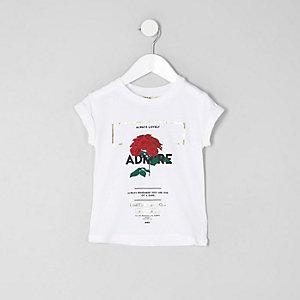 Mini girls white 'admire' crochet hem T-shirt