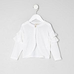 Mini girls white knit frill sleeve cardigan