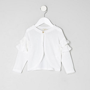 Mini girls white knit frill sleeve cardigan