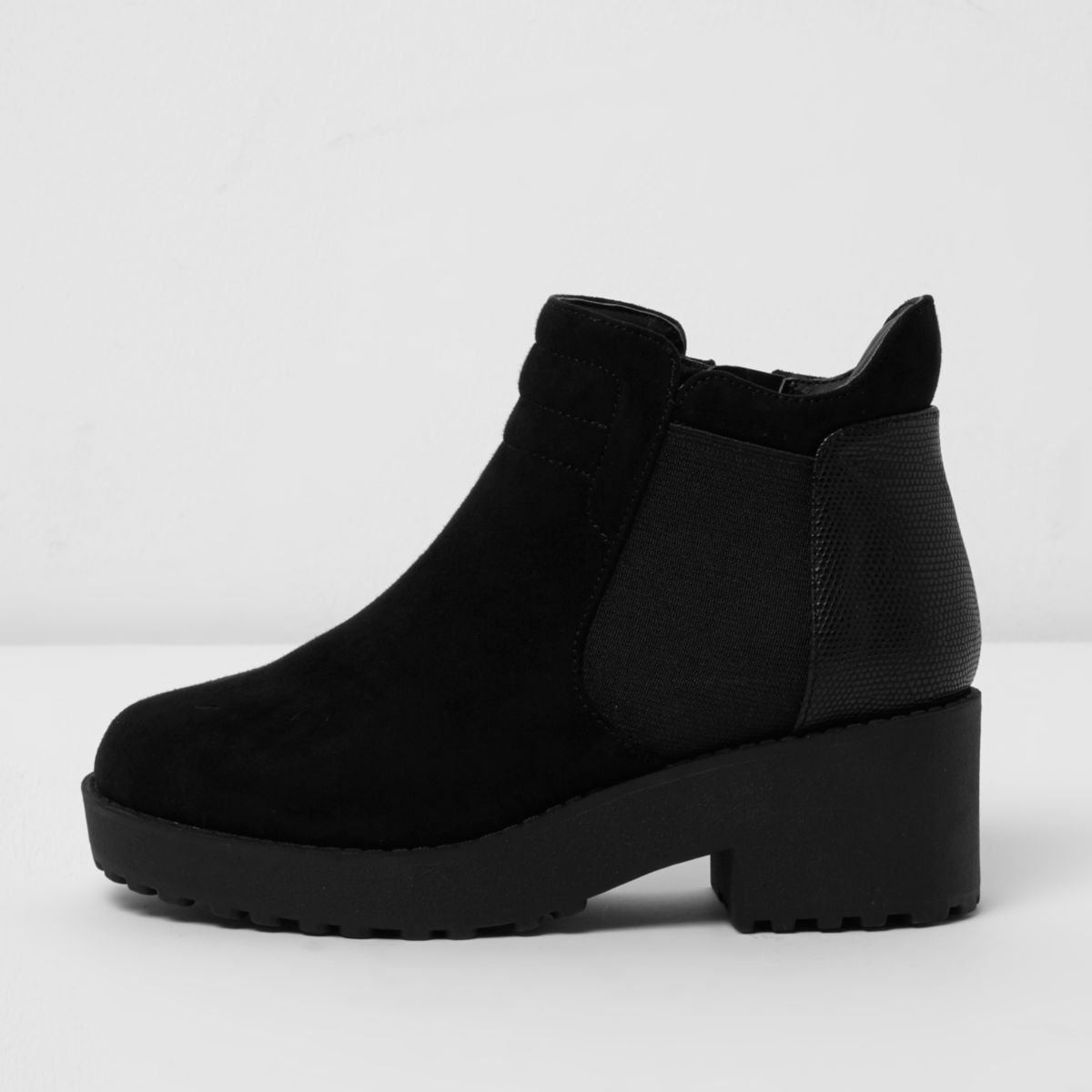 Girls black chunky ankle boots