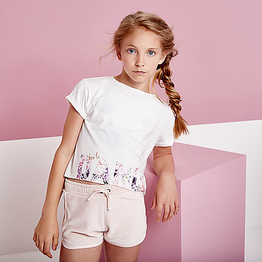 Girls RI active white 'dance' print T-shirt