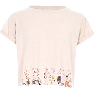 Girls RI active pink 'dance' print T-shirt