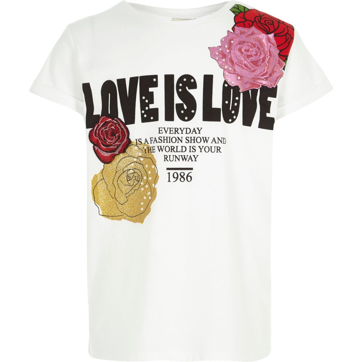 Girls white 'love is love' floral T-shirt