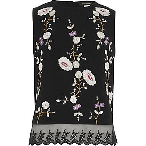 Girls black floral embroidered sleeveless top