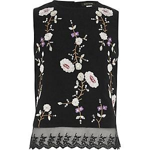 Top noir à fleurs brodées sans manches pour fille