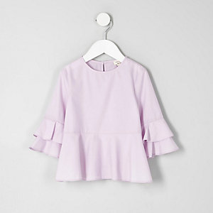 Mini girls light purple peplum hem top