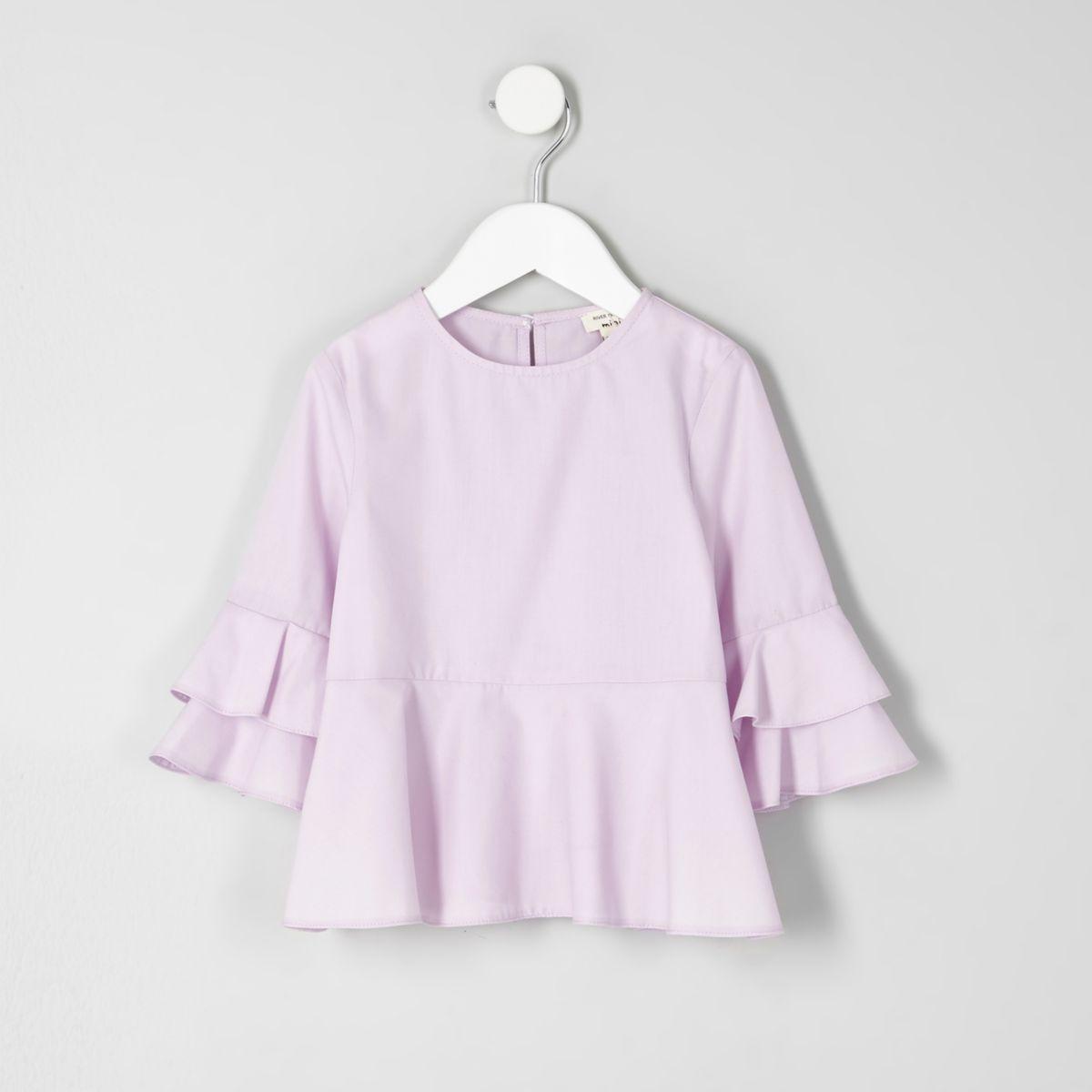 Mini girls light purple peplum hem top