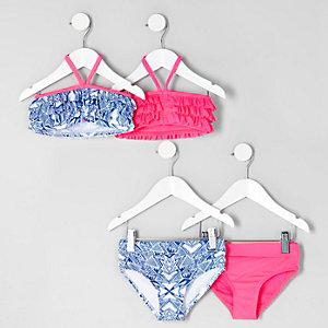 Mini girls blue pink ruffle bikini multipack