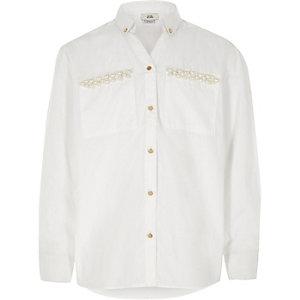 Girls white faux pearl embellished shirt