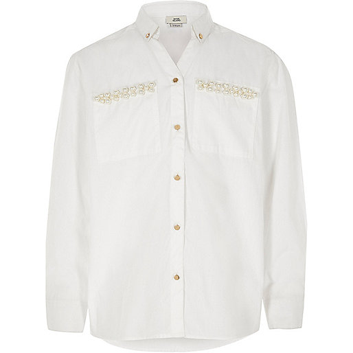 Girls white faux pearl embellished shirt