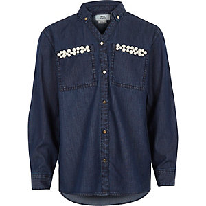 Girls blue embellished pocket denim shirt