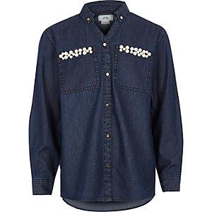 Chemise en jean bleue avec poche ornée fille