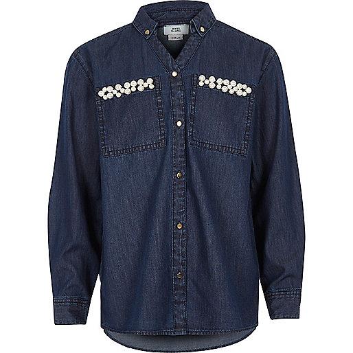 Girls blue embellished pocket denim shirt