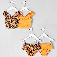 Mini girls orange leopard tankini multipack